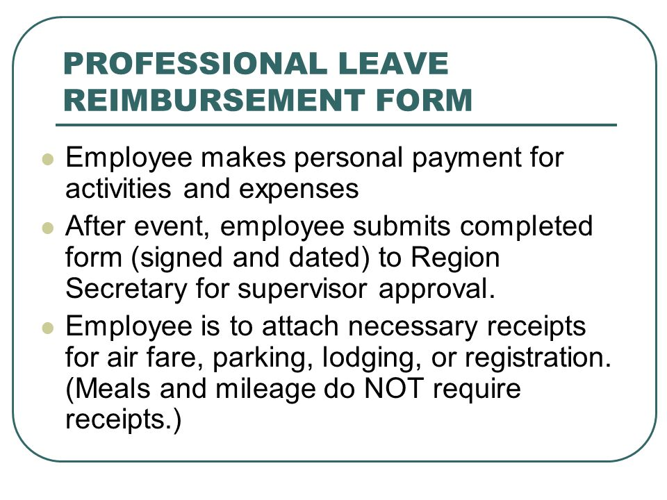 PROFESSIONAL LEAVE REIMBURSEMENT FORM