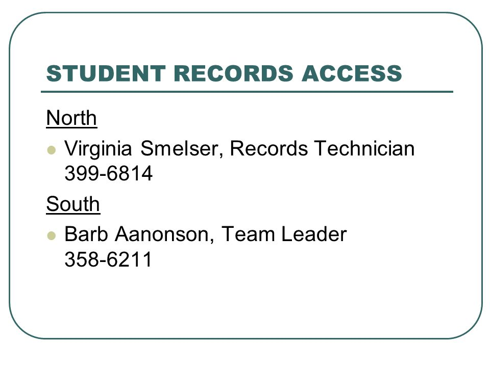 STUDENT RECORDS ACCESS