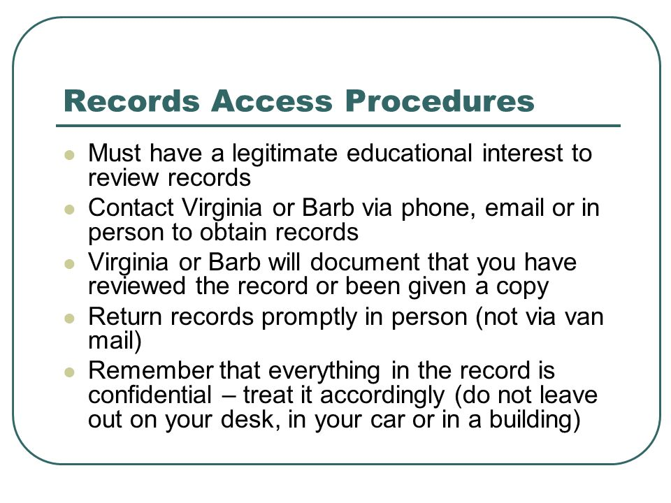 Records Access Procedures