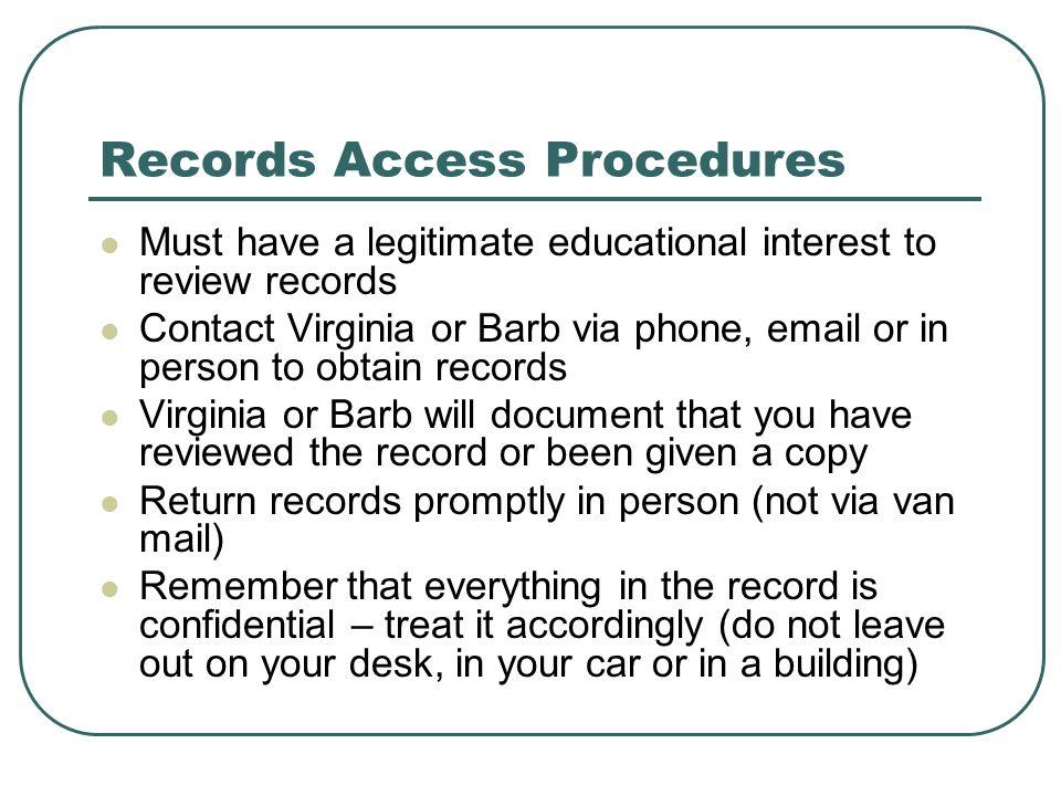 Records Access Procedures