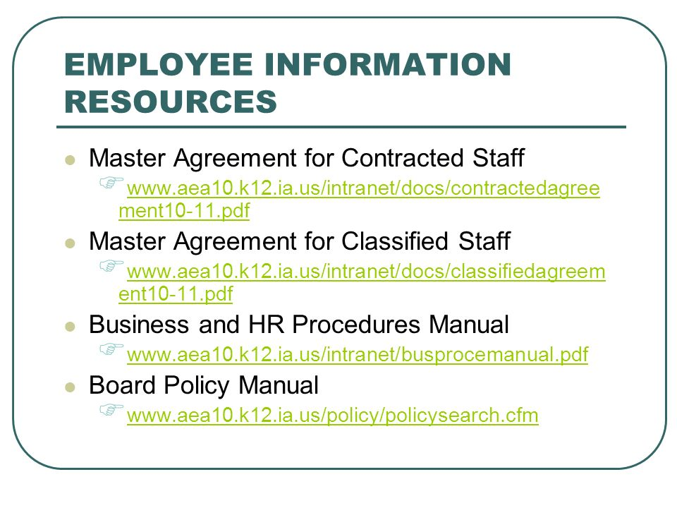 EMPLOYEE INFORMATION RESOURCES