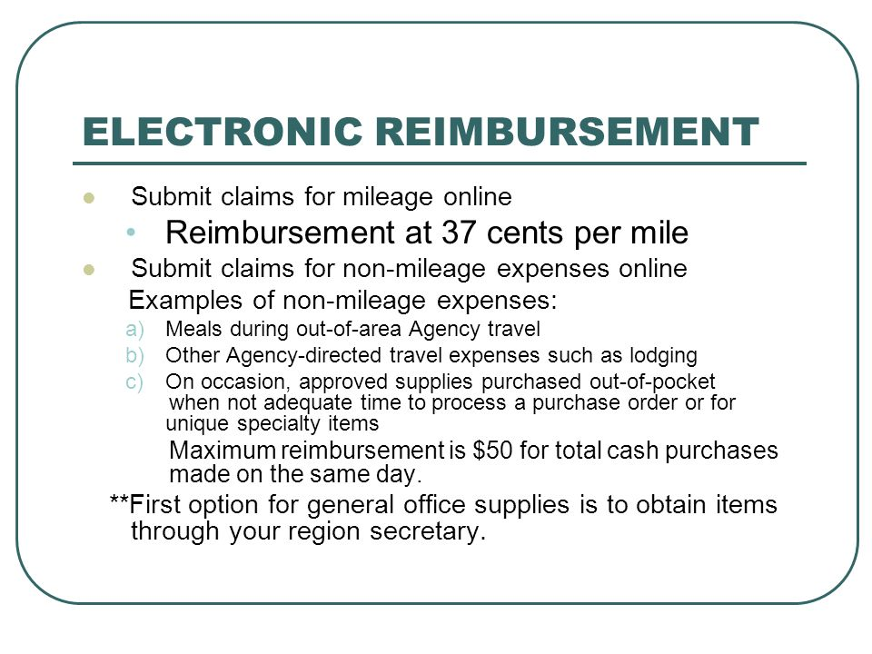 ELECTRONIC REIMBURSEMENT