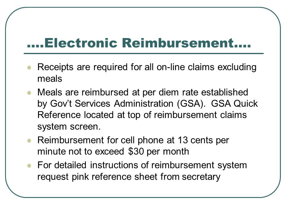 ….Electronic Reimbursement….