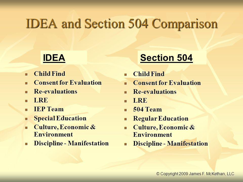 IDEA and Section 504 Comparison