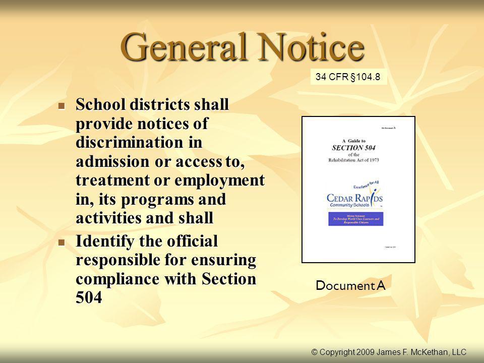 General Notice 34 CFR §104.8.