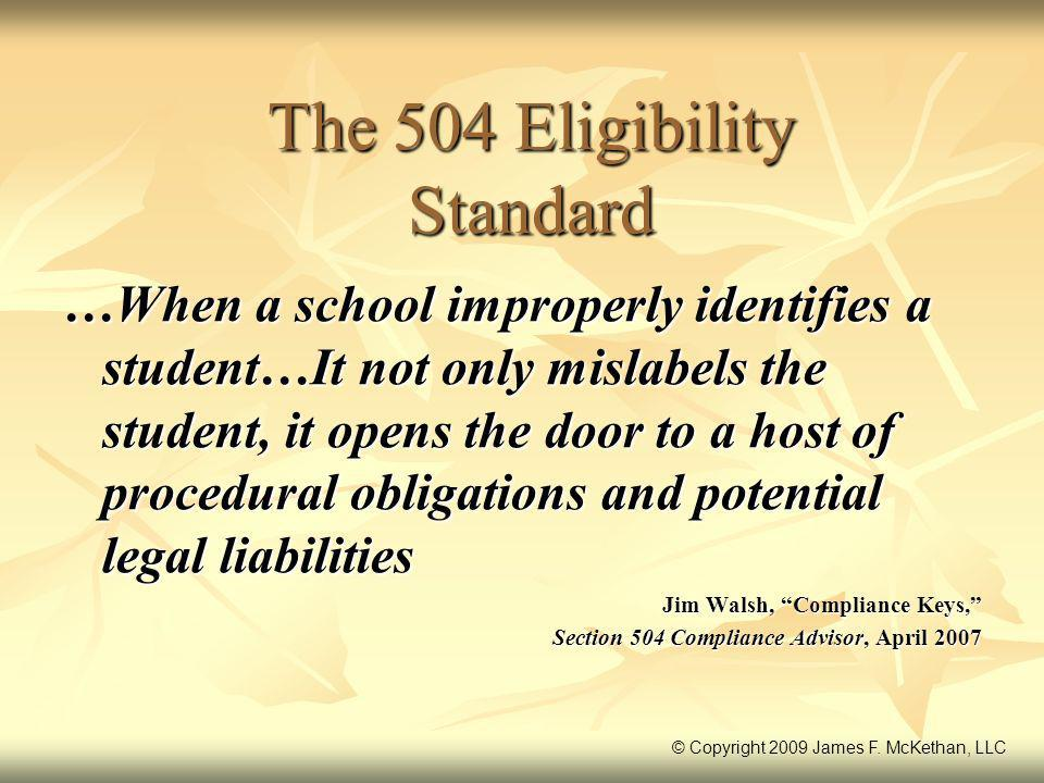 The 504 Eligibility Standard