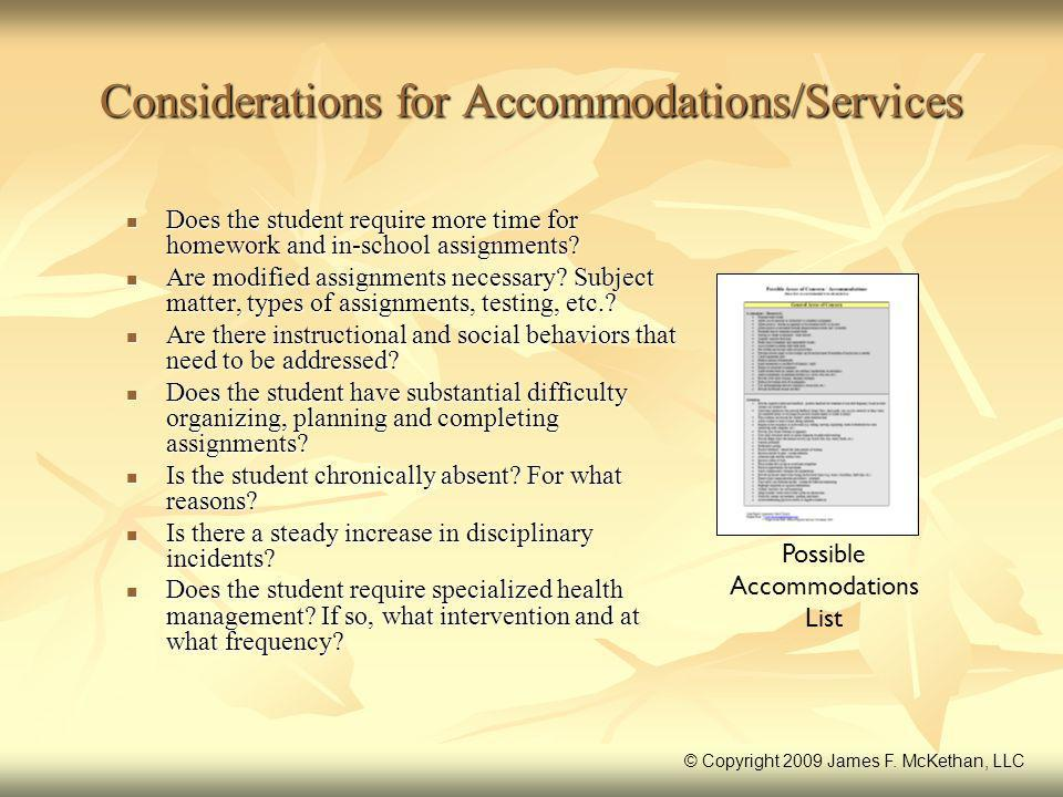 Considerations for Accommodations/Services