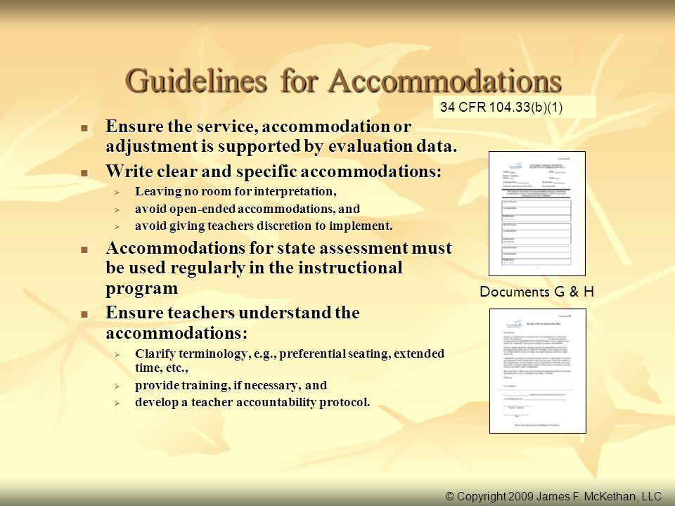Guidelines for Accommodations