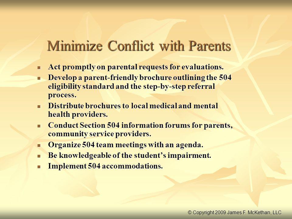 Minimize Conflict with Parents