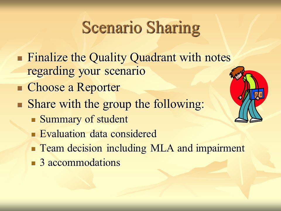 Scenario Sharing Finalize the Quality Quadrant with notes regarding your scenario. Choose a Reporter.