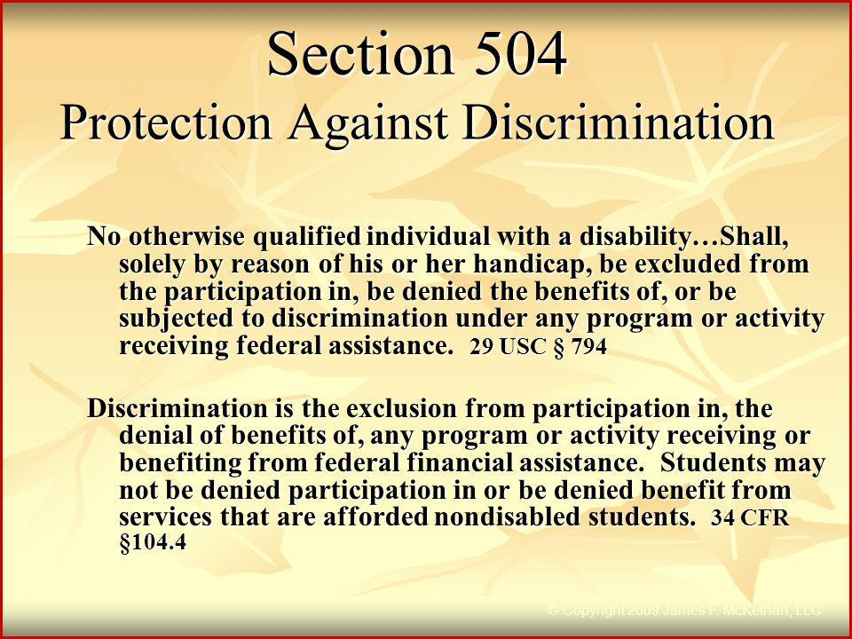 Section 504 Protection Against Discrimination