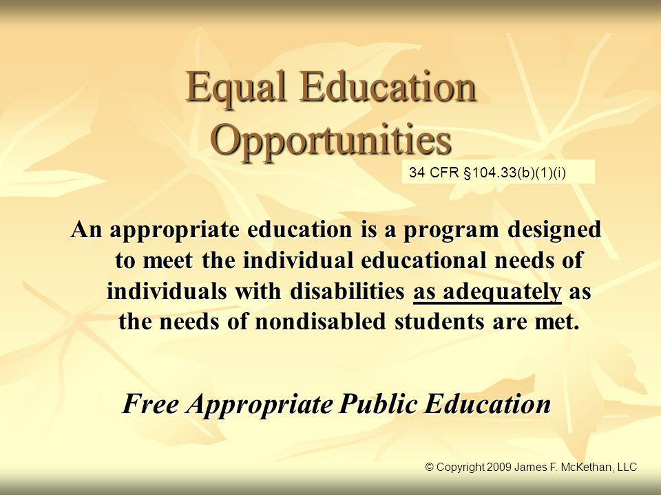 Equal Education Opportunities