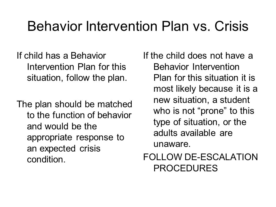Behavior Intervention Plan vs. Crisis