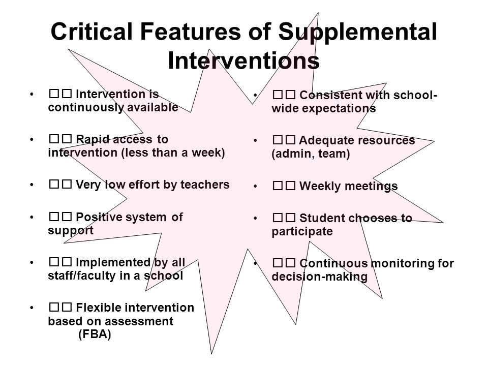 Critical Features of Supplemental Interventions