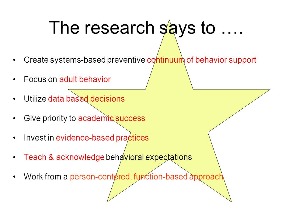 The research says to …. Create systems-based preventive continuum of behavior support. Focus on adult behavior.