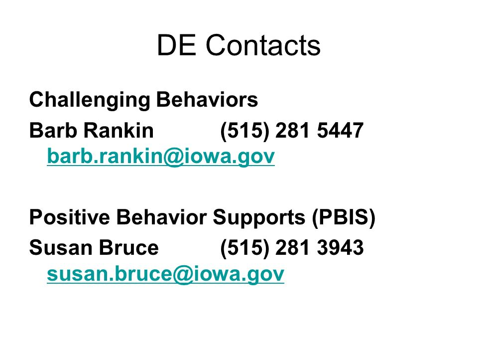 DE Contacts Challenging Behaviors