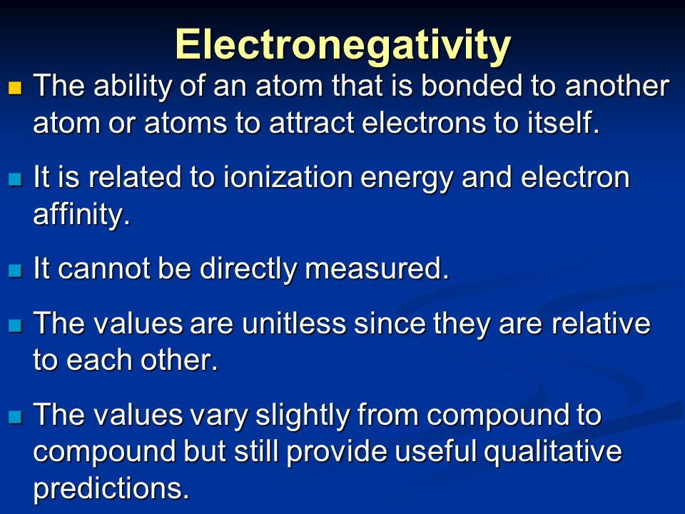 electron affinity and electronegativity relationship test