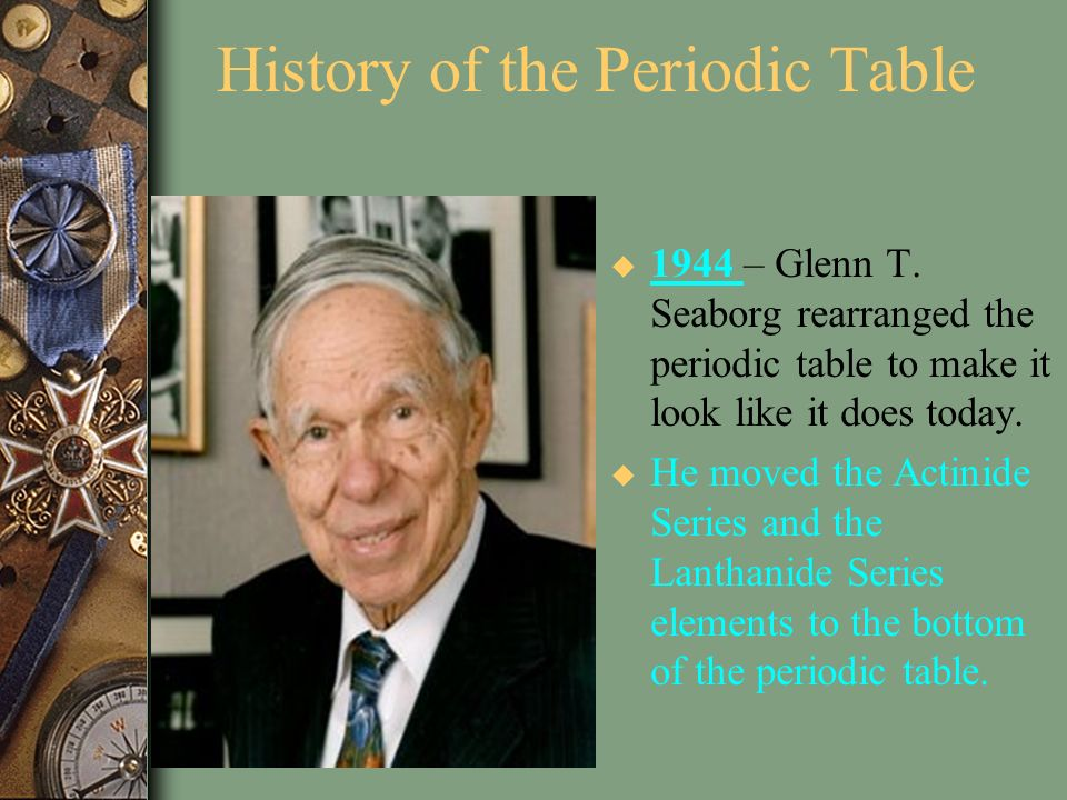Periodic Table glenn seaborg contributions to the modern periodic table : Chapter 5 The Periodic Law - ppt video online download