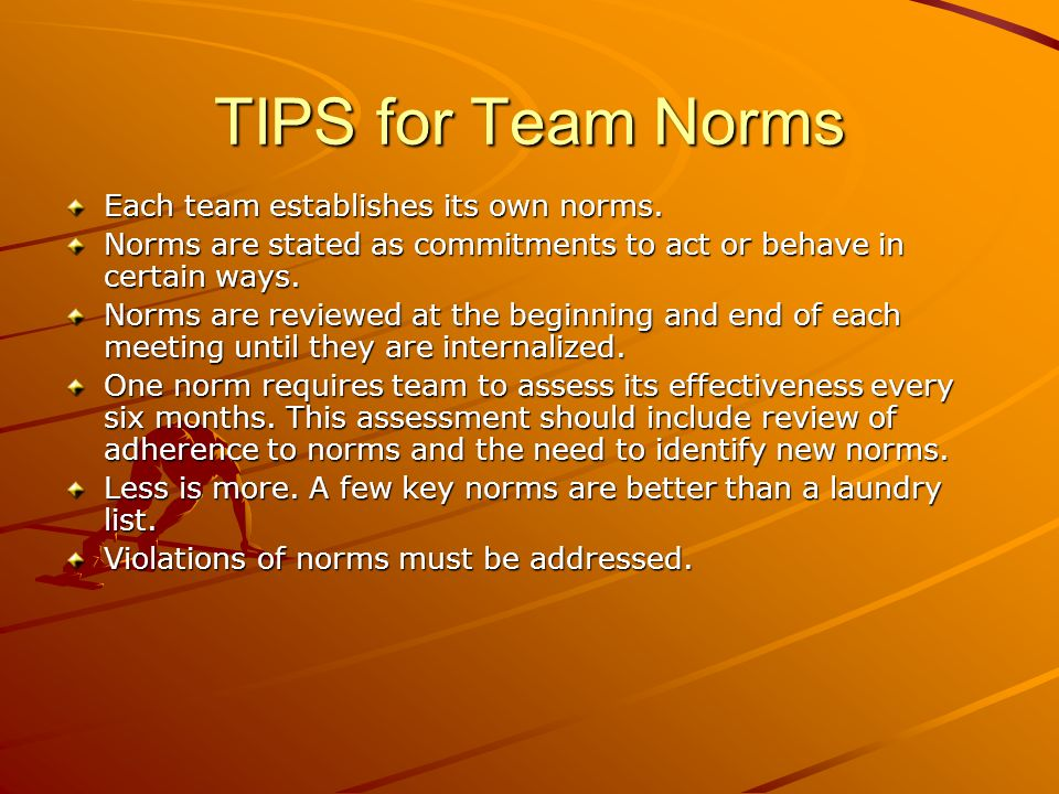 TIPS for Team Norms Each team establishes its own norms.