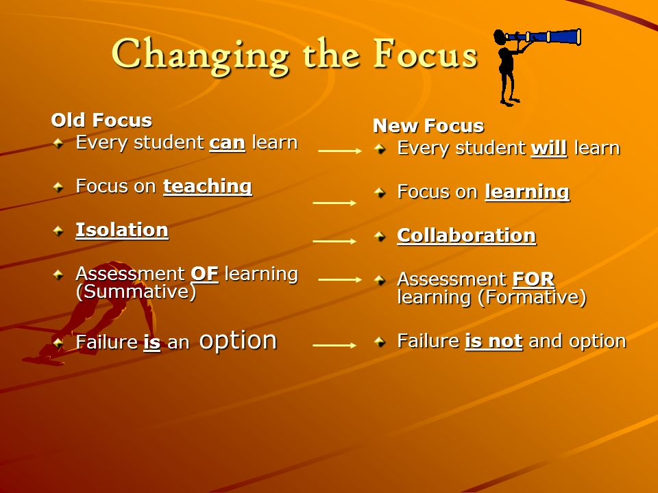 Changing the Focus Old Focus New Focus Every student can learn
