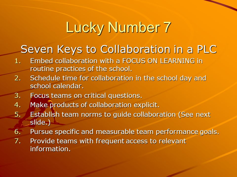 Seven Keys to Collaboration in a PLC