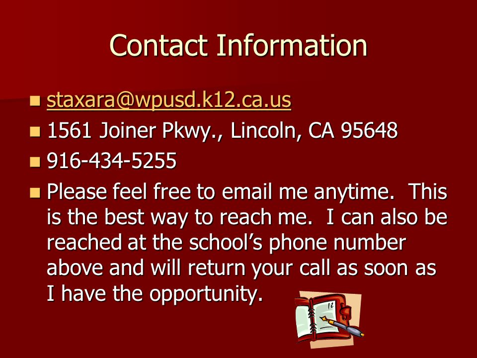 Contact Information 1561 Joiner Pkwy., Lincoln, CA