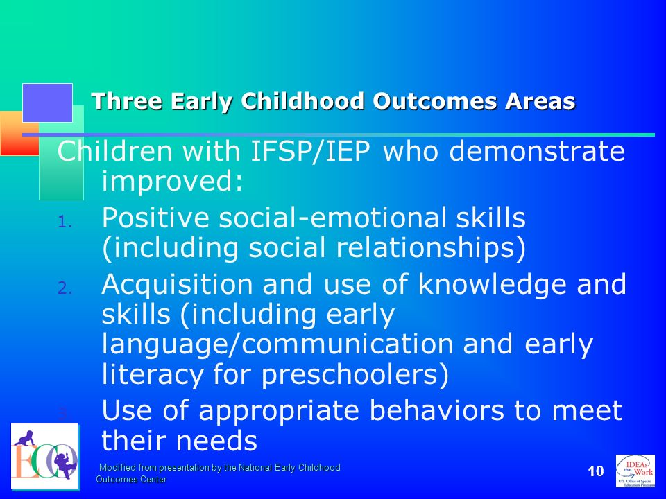 Three Early Childhood Outcomes Areas