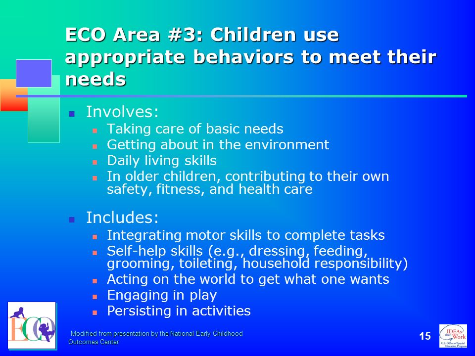 ECO Area #3: Children use appropriate behaviors to meet their needs