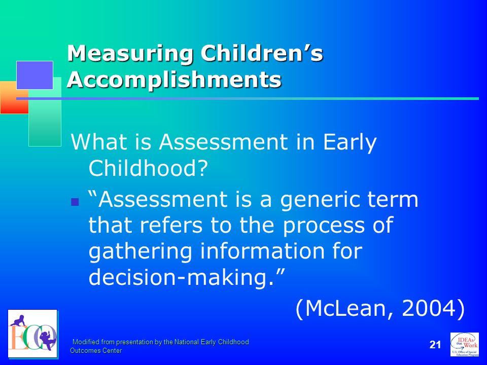 Measuring Children's Accomplishments