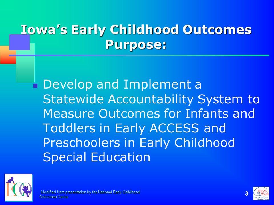 Iowa's Early Childhood Outcomes Purpose: