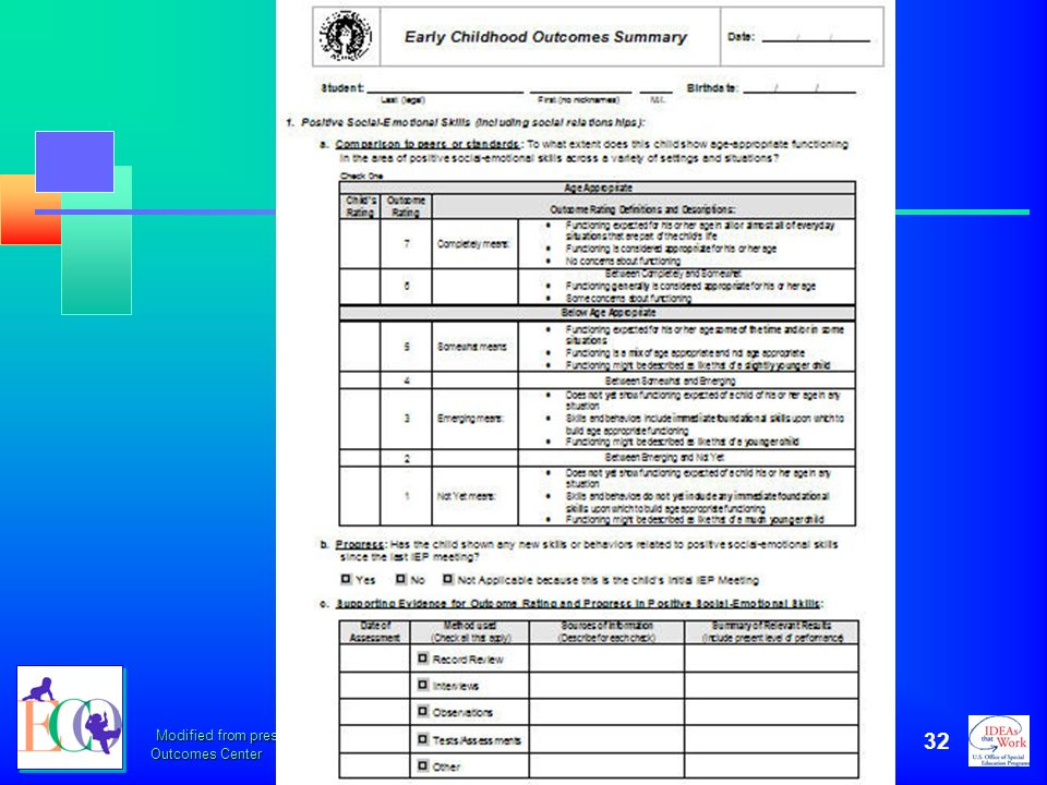 October 2006 This is a sample of the IEP ECO Summary form. Provide participants with a handout of the 3-page IEP ECO Summary form.