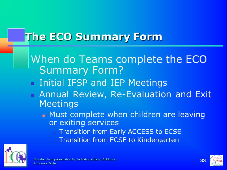 When do Teams complete the ECO Summary Form