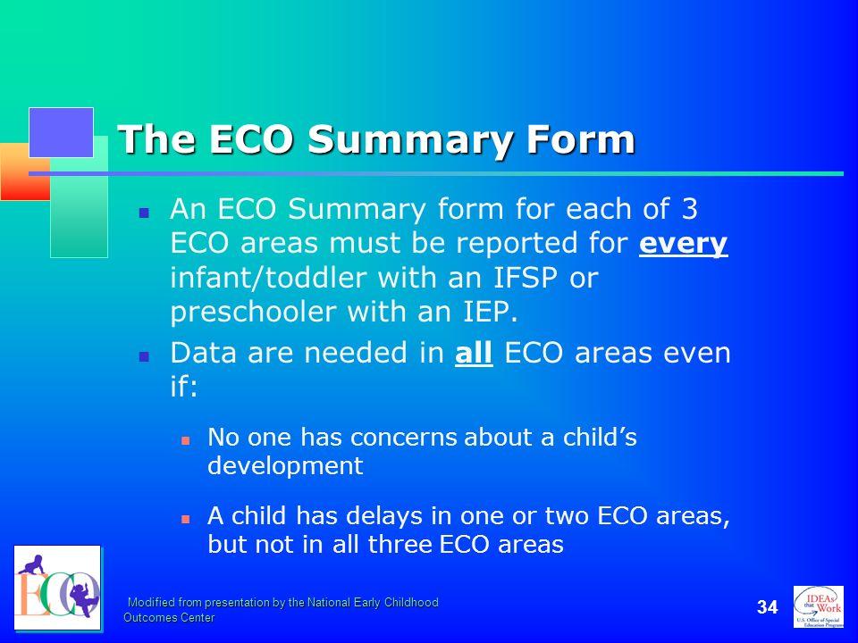 October 2006 The ECO Summary Form.