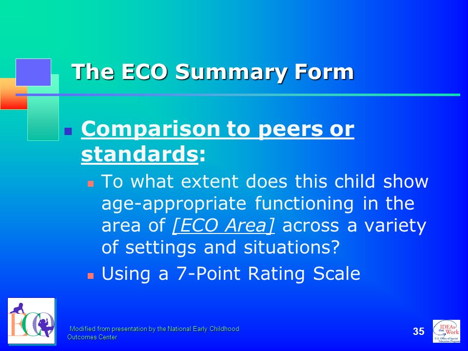 Comparison to peers or standards: