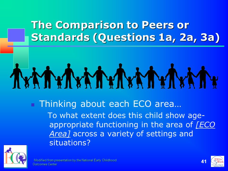 The Comparison to Peers or Standards (Questions 1a, 2a, 3a)