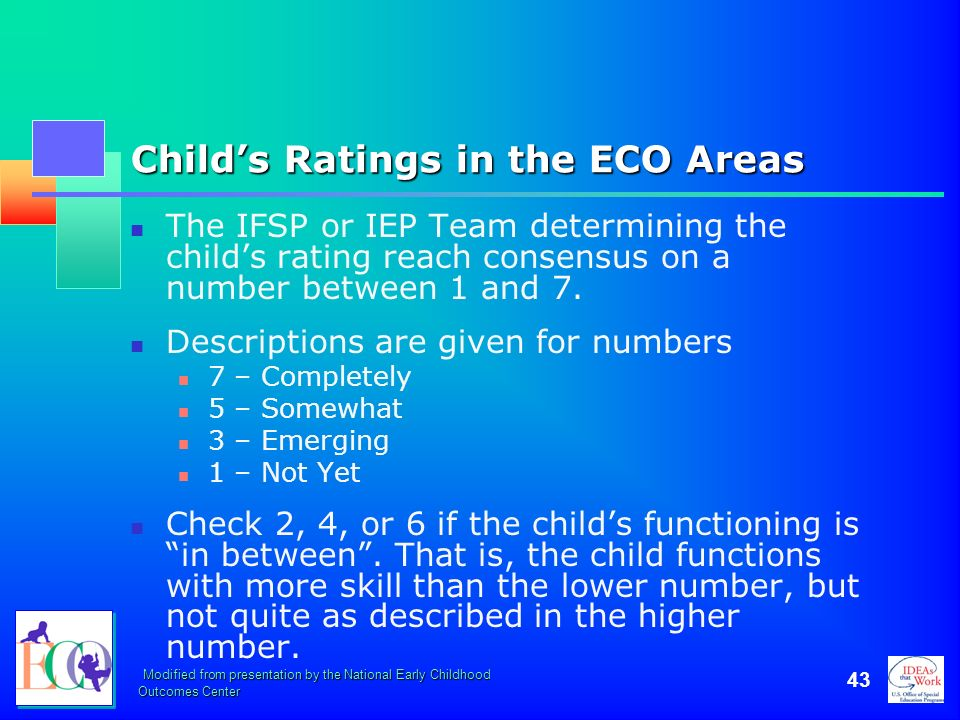 Child's Ratings in the ECO Areas