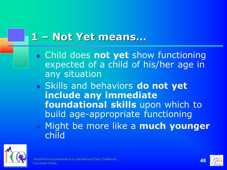 October 2006 1 – Not Yet means… Child does not yet show functioning expected of a child of his/her age in any situation.