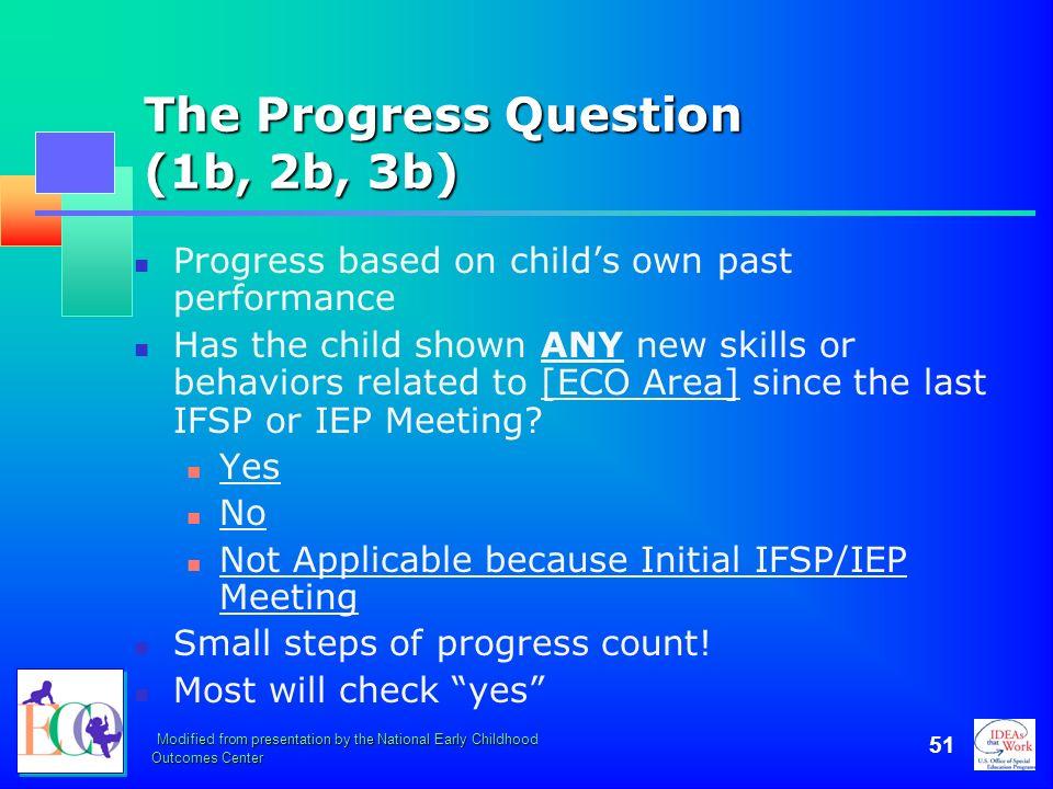 The Progress Question (1b, 2b, 3b)