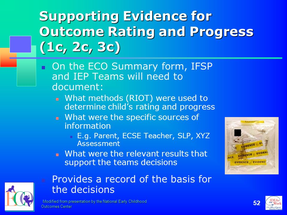Supporting Evidence for Outcome Rating and Progress (1c, 2c, 3c)