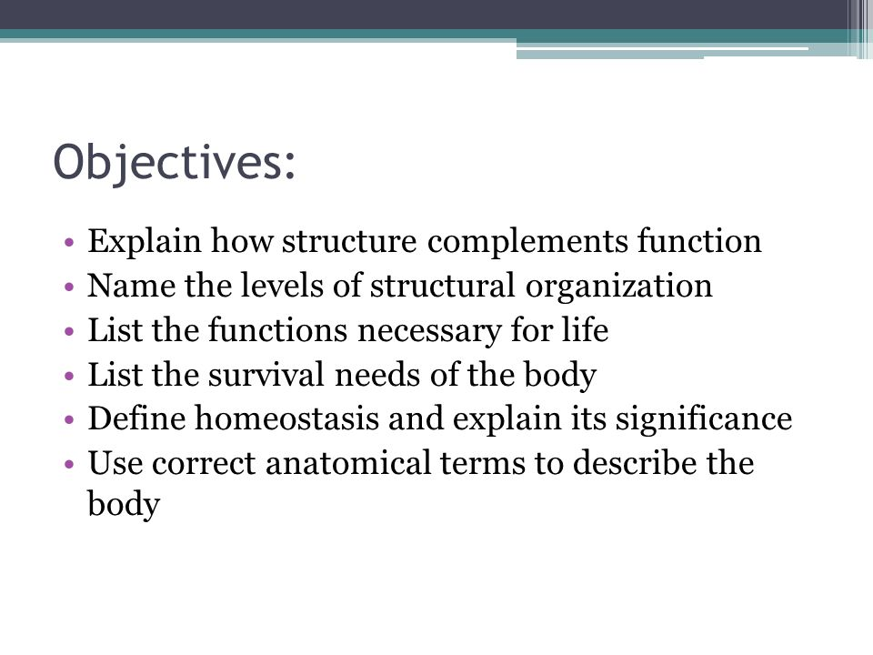 Objectives: Explain how structure complements function