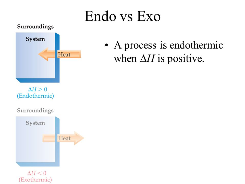 Endo vs Exo A process is endothermic when H is positive.