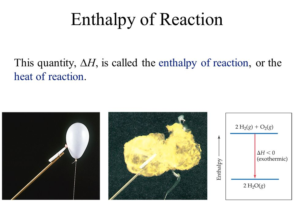 Enthalpy of Reaction This quantity, H, is called the enthalpy of reaction, or the heat of reaction.