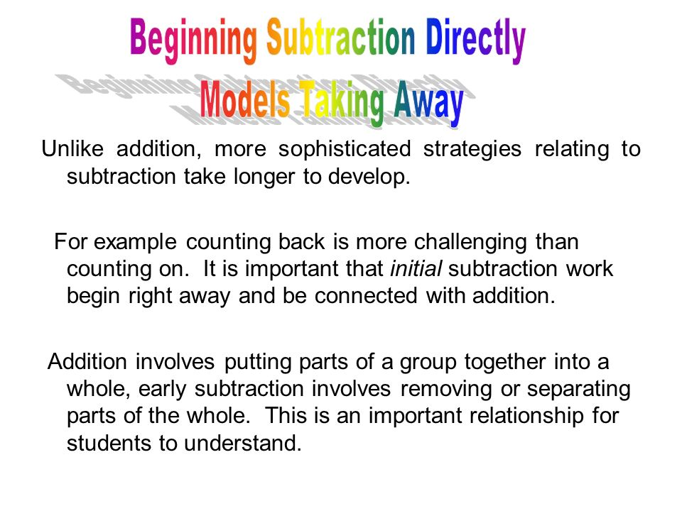 Beginning Subtraction Directly