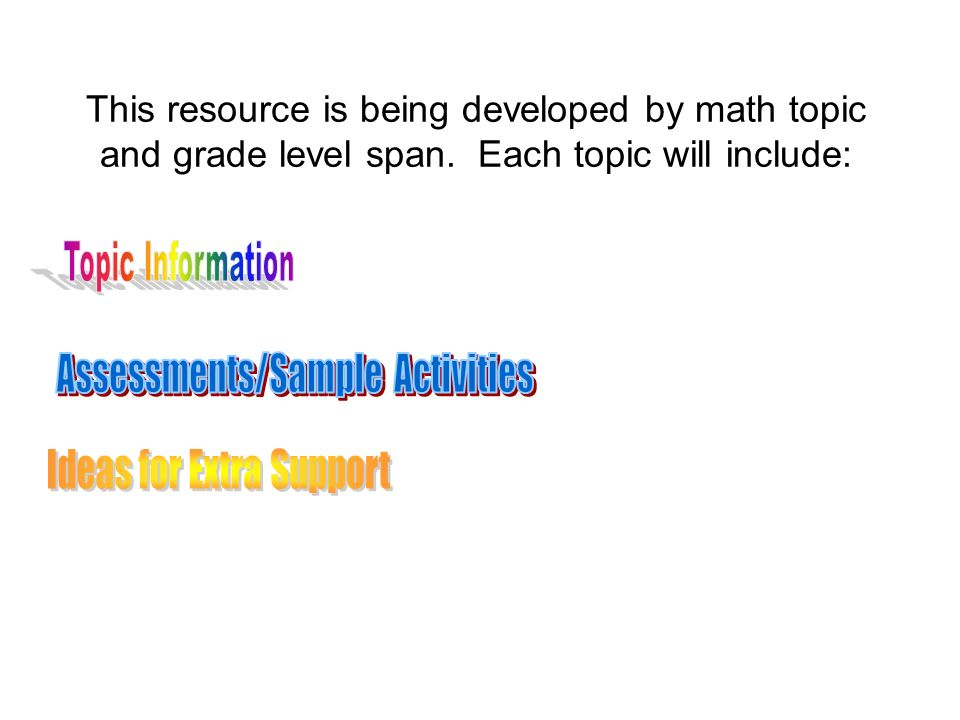 Assessments/Sample Activities