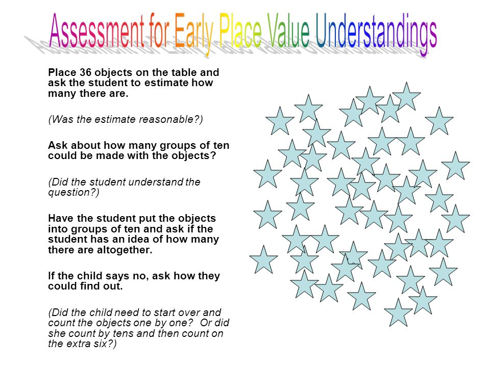 Assessment for Early Place Value Understandings