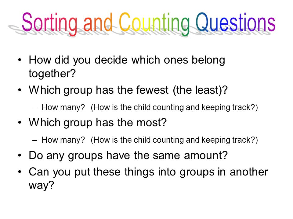 Sorting and Counting Questions