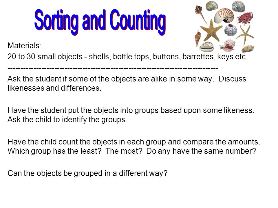 Sorting and Counting Materials: