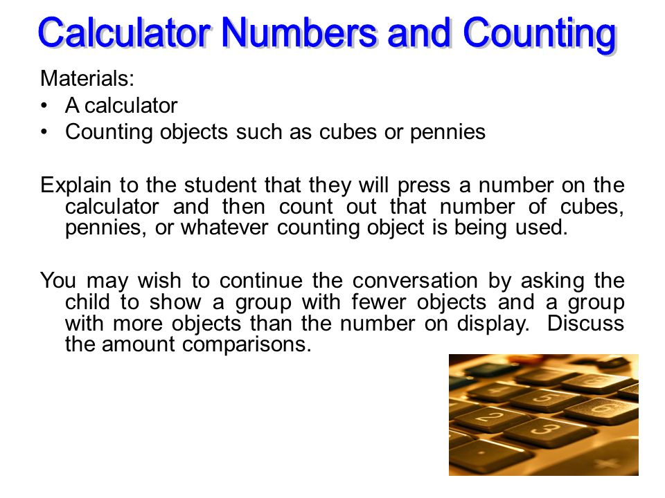 Calculator Numbers and Counting