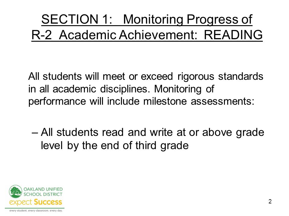 SECTION 1: Monitoring Progress of R-2 Academic Achievement: READING