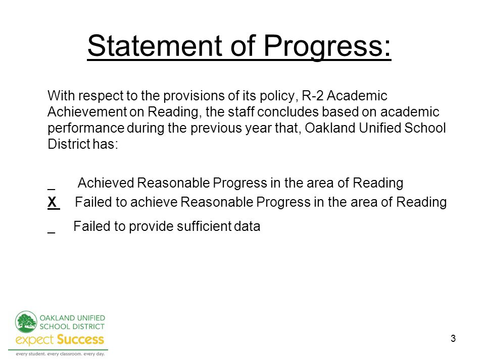 Statement of Progress: